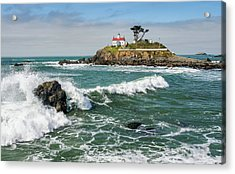 Acrylic Print featuring the photograph Wave Break And The Lighthouse by Greg Nyquist