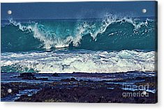 Wave Breaking On Lava Rock 2 Acrylic Print
