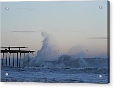 Wave Towers Over Oc Fishing Pier Acrylic Print