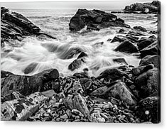 Waves Against A Rocky Shore In Bw Acrylic Print
