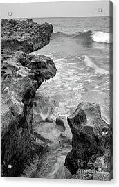 Waves And Coquina Rocks, Jupiter, Florida #39358-bw Acrylic Print