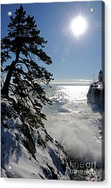 Waves And Ice At Tettegouche Acrylic Print