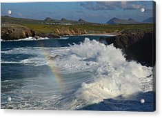 Waves And Rainbow At Clogher Acrylic Print