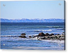 Waves At Argentia  Acrylic Print by Barbara Griffin