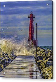 Waves At Muskegon South Breakwater Acrylic Print