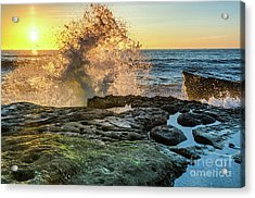 Waves At Sunset Cliffs Acrylic Print