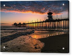 Waves At Sunset Acrylic Print