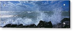 Waves Breaking On Rocks, Gulf Of Acrylic Print by Panoramic Images