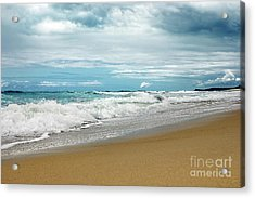 Acrylic Print featuring the photograph Waves Clouds And Sand By Kaye Menner by Kaye Menner