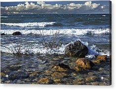Waves Crashing Ashore At Northport Point On Lake Michigan Acrylic Print