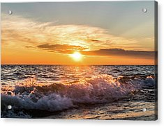 Waves Crashing With Suset Acrylic Print