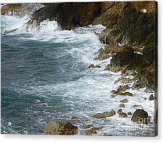 Waves Lashing Rocks Acrylic Print by Margaret Brooks