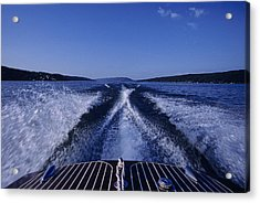 Waves Left In The Wake Of A Boat Acrylic Print by Kenneth Garrett