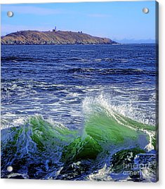 Waves Off Seguin Island Acrylic Print by Olivier Le Queinec