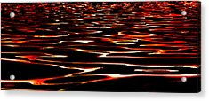 Waves On Fire Abstract Acrylic Print by David Patterson