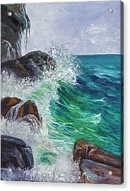 Acrylic Print featuring the painting Waves On Maui by Darice Machel McGuire
