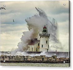 Waves Over The Lighthouse In Cleveland. Acrylic Print