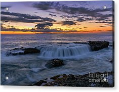 Acrylic Print featuring the photograph Wave Over The Rocks by Eddie Yerkish