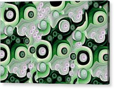 Waves Seashells Foam And Stones In Green Acrylic Print by Jacqueline Migell