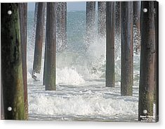 Waves Under The Pier Acrylic Print