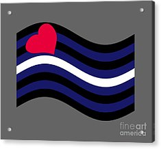 Waving Leather Flag Acrylic Print by Frederick Holiday