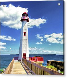 Acrylic Print featuring the painting Wawatam Lighthouse by Christopher Arndt