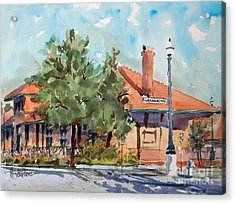 Waxachie Train Station Acrylic Print by Ron Stephens