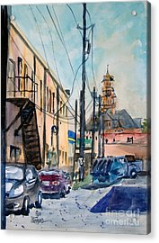 Waxahachie Back Alley Acrylic Print by Ron Stephens