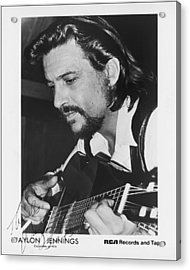 Waylon Jennings 1971 Signed Acrylic Print by Mountain Dreams