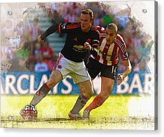 Wayne Rooney Is Marshalled Acrylic Print by Don Kuing