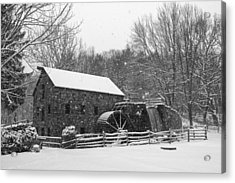 Wayside Inn Grist Mill Covered In Snow Storm Black And White Acrylic Print