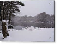 Wayside Inn Grist Mill Covered In Snow Storm Pond Acrylic Print