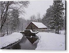 Wayside Inn Grist Mill Covered In Snow Storm Reflection Acrylic Print