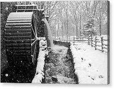 Wayside Inn Grist Mill Covered In Snow Storm Side View Black And White Acrylic Print