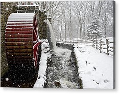 Wayside Inn Grist Mill Covered In Snow Storm Side View Acrylic Print by Toby McGuire