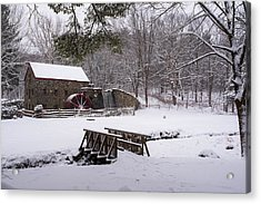 Wayside Inn Grist Mill Covered In Snow Acrylic Print
