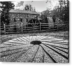 Wayside Inn Grist Mill Millstone Black And White Acrylic Print