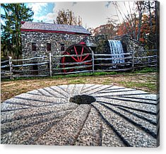Wayside Inn Grist Mill Millstone Acrylic Print by Toby McGuire