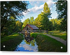 Wayside Inn Grist Mill Reflection Acrylic Print