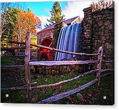 Wayside Inn Grist Mill Waterfall Sudbury Ma Acrylic Print