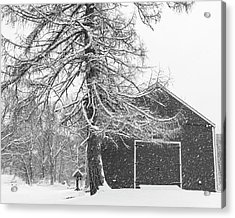Wayside Inn Red Barn Covered In Snow Storm Reflection Black And White Acrylic Print