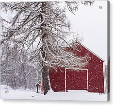 Wayside Inn Red Barn Covered In Snow Storm Reflection Acrylic Print by Toby McGuire