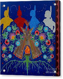Acrylic Print featuring the painting We Are One Bond by Chholing Taha