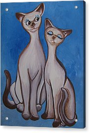 Acrylic Print featuring the painting We Are Siamese by Leslie Manley