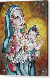 We Can Do It  Inked Mary And Jesus Acrylic Print by LEX Covato