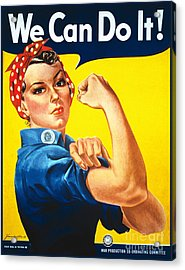 We Can Do It Rosie The Riveter Poster Acrylic Print by Carsten Reisinger