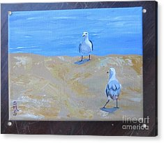We First Met On The Beach Acrylic Print by Stella Sherman