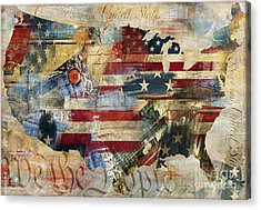 We The People Map America Acrylic Print by Mindy Sommers