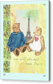 Acrylic Print featuring the painting We Will Always Have Paris Whimsical Bears by Judith Cheng