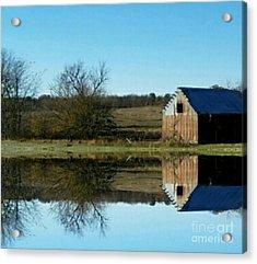 Weathered Barn By The Pond Acrylic Print by Scott D Van Osdol